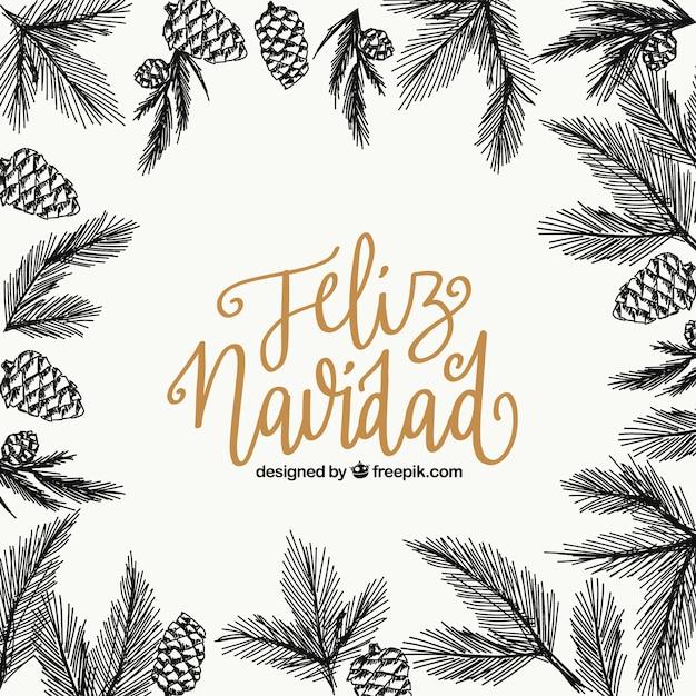 Веселого рождественского фона с эскизами листьев и ананасов Бесплатные векторы
