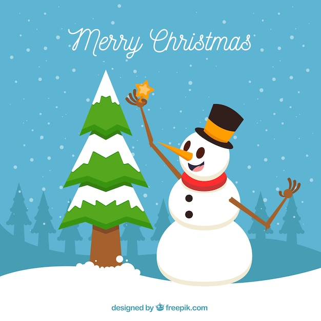 Merry christmas background with snowman and snowy tree