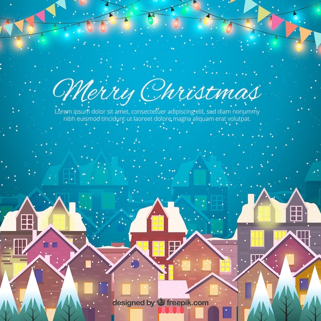 Merry christmas background with snowy city Vector | Free Download