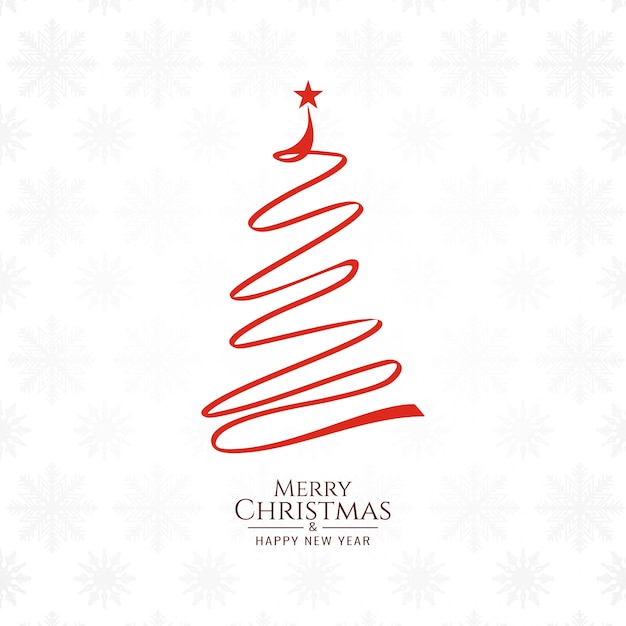 Merry Christmas background with tree design Free Vector