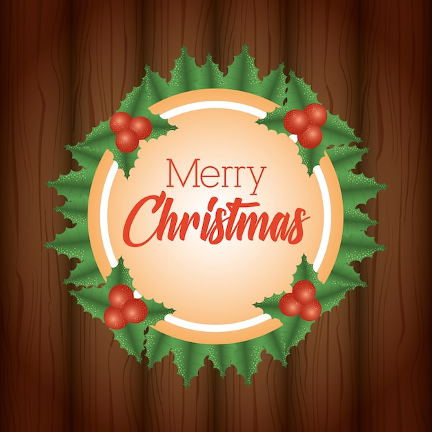 Merry christmas background with wreath leaves Free Vector