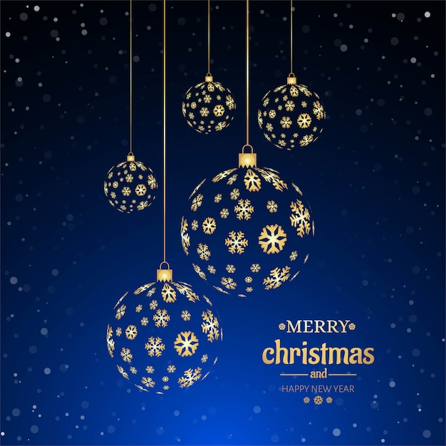 Merry christmas ball decorative background Free Vector