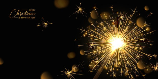 Merry christmas banner background with sparkler and light effects Premium Vector