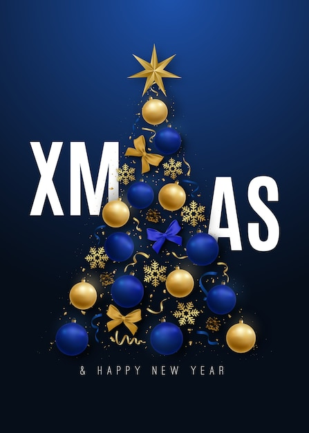 Merry christmas banner decorative christmas tree Premium Vector