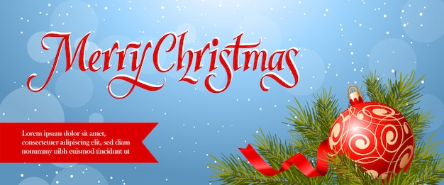 Merry christmas banner design. red bauble, streamer Free Vector