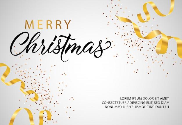 Merry christmas banner design with golden streamer Free Vector
