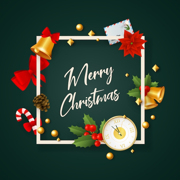 Merry christmas banner in frame with decor on green ground Free Vector