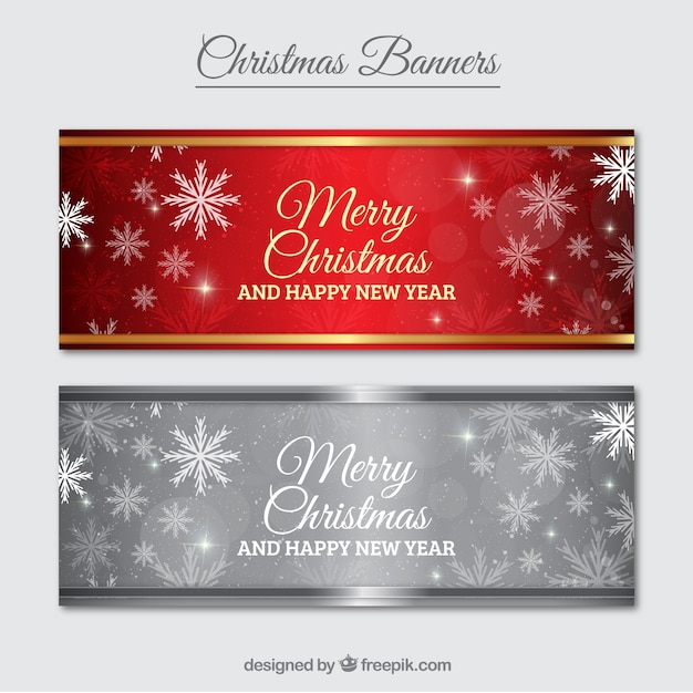 Merry christmas banner pack Free Vector