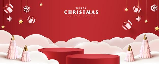 メリークリスマスバナー製品は、クリスマスのための円筒形とお祭りの装飾を表示します Premiumベクター