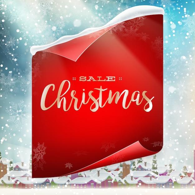 メリークリスマスバナー販売。 Premiumベクター