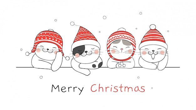 Merry christmas banner with cats Premium Vector