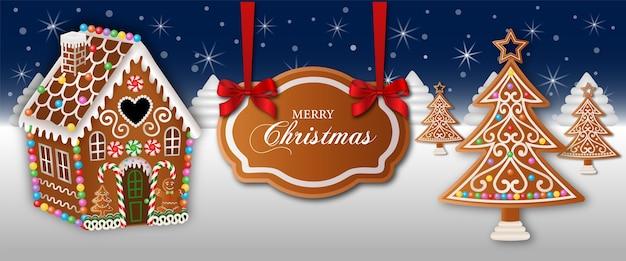 ジンジャーブレッドの家と木々とメリークリスマスバナー Premiumベクター