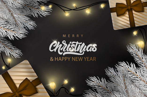 Merry christmas banner with lettering text banner Premium Vector