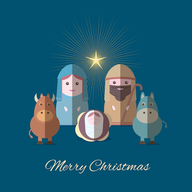Merry christmas banner with mary and joseph with baby jesus Premium Vector