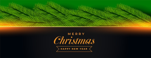 Merry christmas banner with pine tree decoration Free Vector