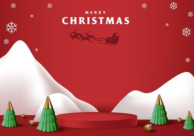 제품 디스플레이 원통형 모양의 메리 크리스마스 배너 프리미엄 벡터
