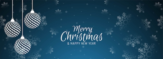 Merry christmas banner with snowflakes Free Vector