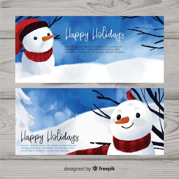 Merry christmas banner Free Vector