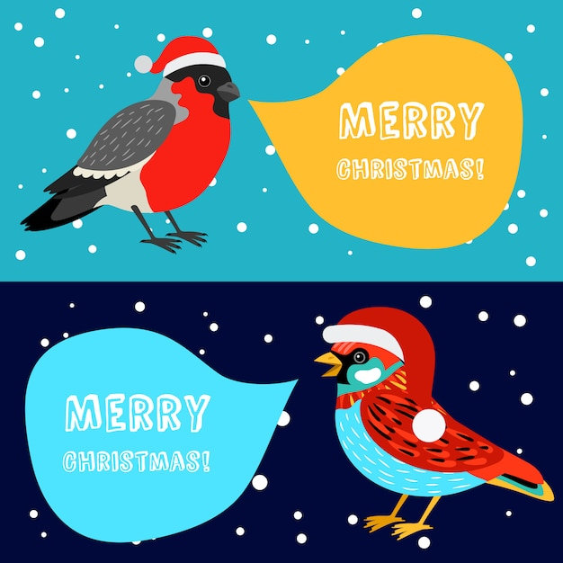 Merry christmas banners with birds Premium Vector