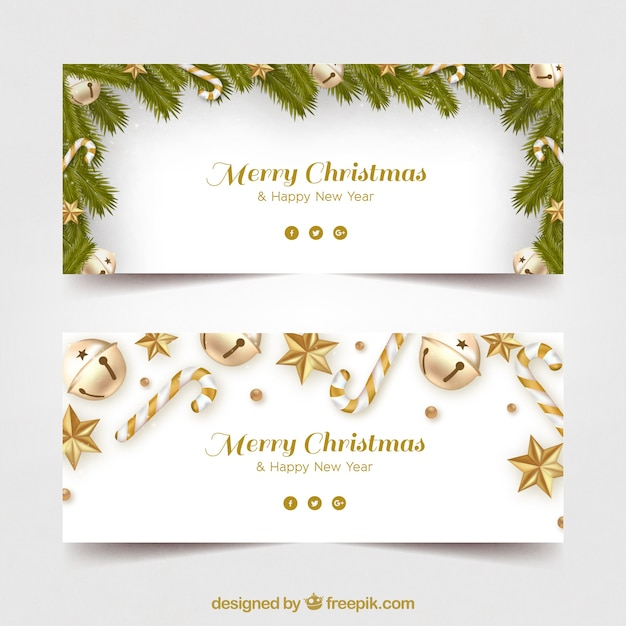 Company Christmas Party Program Ideas Part - 50: Merry Christmas Banners With Golden Decoration