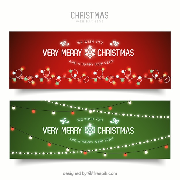 merry christmas banners with lights free vector
