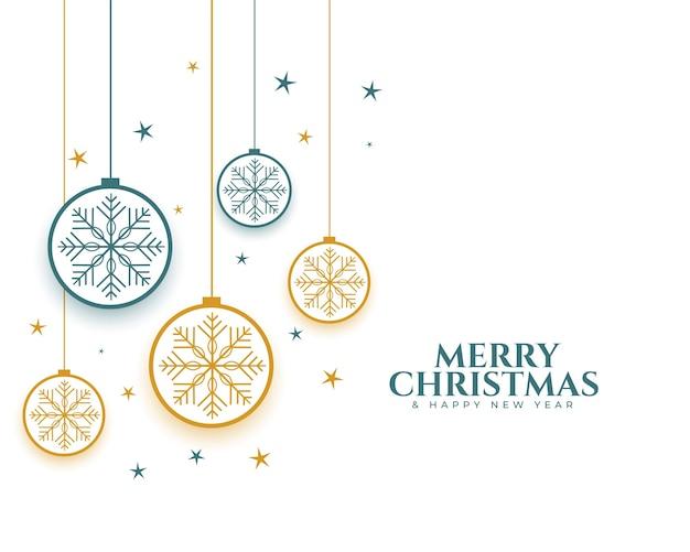 Fondo decorativo delle baubes e dei fiocchi di neve di buon natale Vettore gratuito