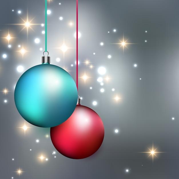 Merry christmas bauble background Premium Vector