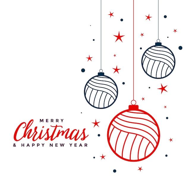フラットな色のメリークリスマス安物の宝石の装飾の背景 無料ベクター