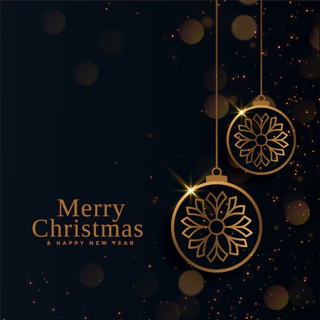 Merry christmas beautiful golden balls Free Vector