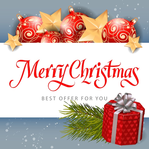 Merry Christmas Best Offer Inscription Vector | Free Download