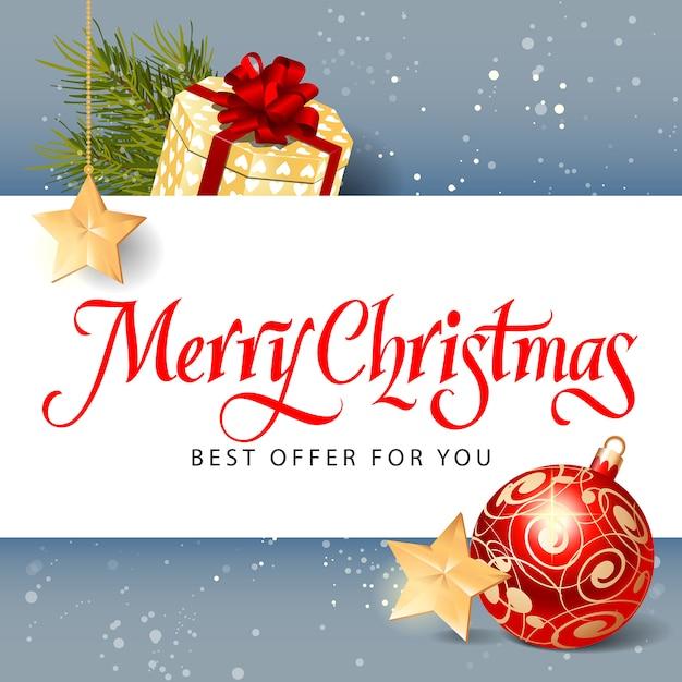 Free Vector | Merry christmas best offer lettering
