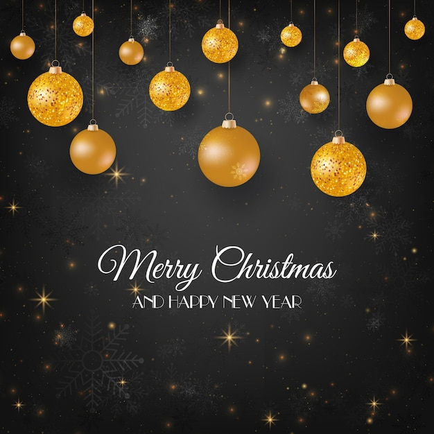 Merry Christmas Black Background With Gold Balls Premium Vector