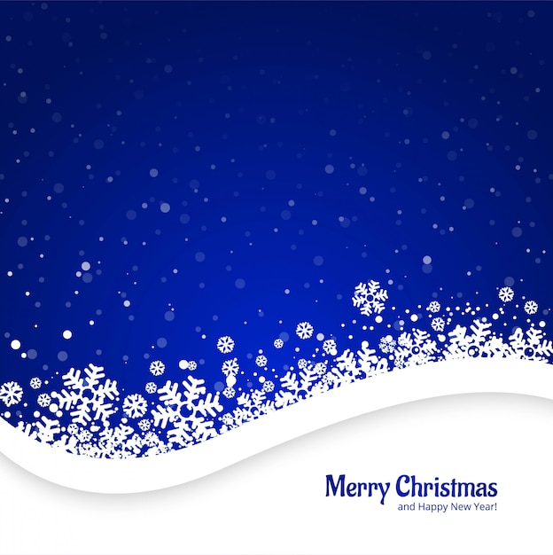 Merry christmas blue background with snowflakes design Free Vector