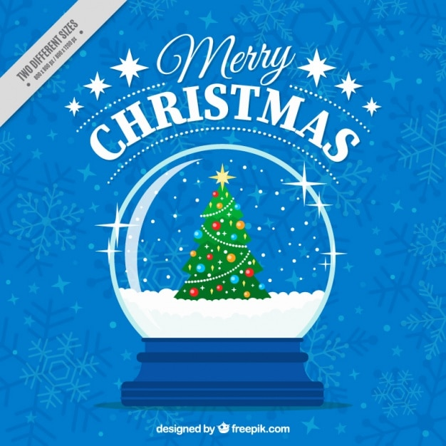 Merry christmas blue background with snowglobe with christmas tree ...