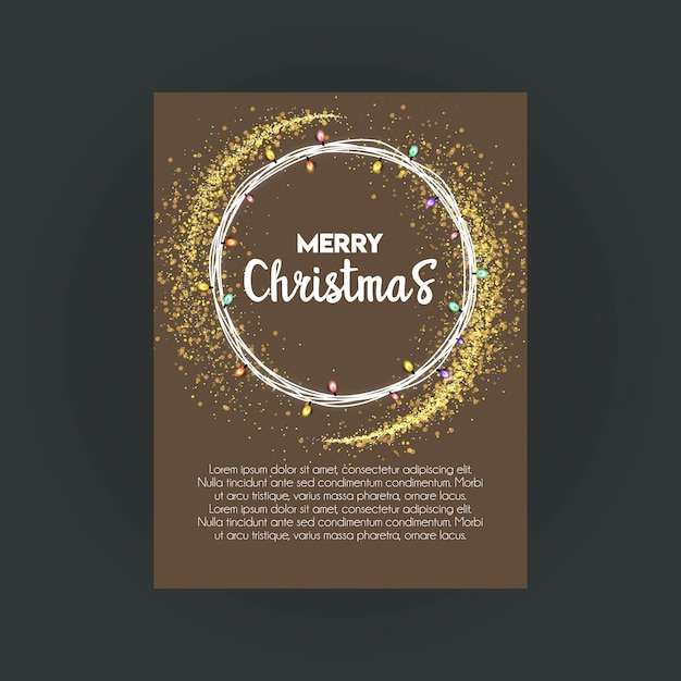 Merry Christmas Bokeh Background Invitation Card Template Vector