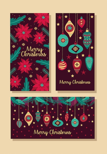 Merry christmas bundle of cards vector illustration design Free Vector