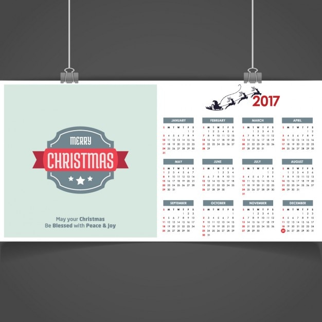Christmas Calendar 2017 : Merry christmas calendar vector free download