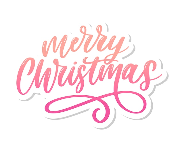 Merry christmas calligraphic inscription decorated lettering text Premium Vector