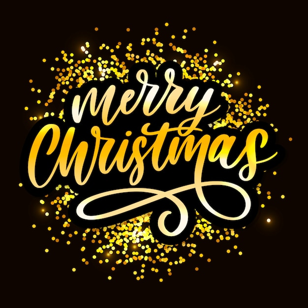Merry christmas calligraphic inscription decorated with golden frame Premium Vector
