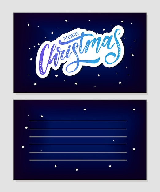 Merry christmas calligraphic inscription decorated with golden stars and beads. Premium Vector