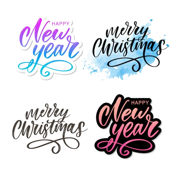 Merry christmas calligraphic inscription Premium Vector