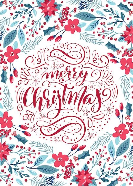 Merry christmas calligraphic lettering Premium Vector