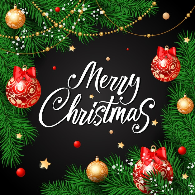 merry christmas calligraphy with baubles free vector - Merry Merry Merry Christmas