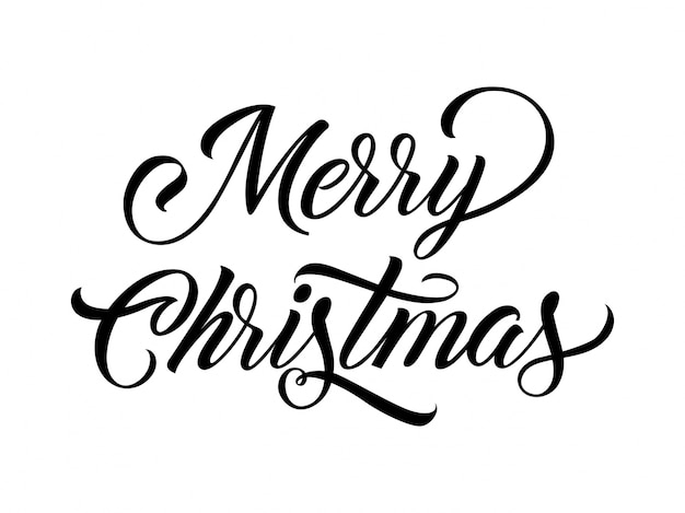 Merry christmas calligraphy vector free download