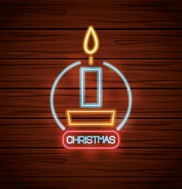 Merry christmas candle with neon lights on wood Premium Vector