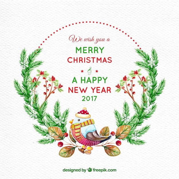 merry christmas card and new year with watercolor bird free vector