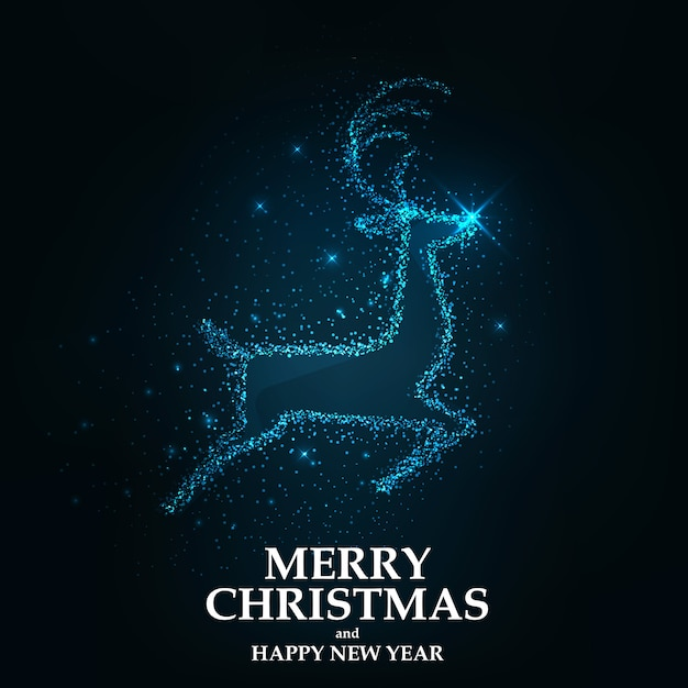 Merry christmas card christmas reindeer Premium Vector