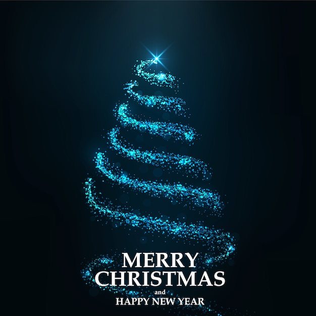 Merry christmas card christmas tree Premium Vector