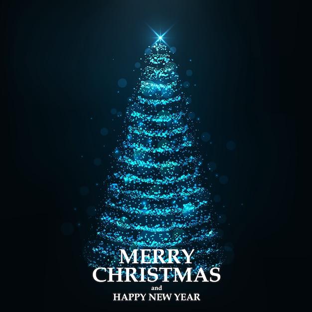 Merry christmas card christmas tree Premium Vector