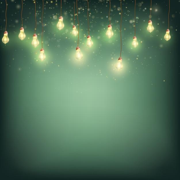 메리 크리스마스 카드 개념-빛나는 불빛 갈 랜드. 프리미엄 벡터